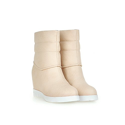 1TO9 Womens Wedges Boots Fashion Round-Toe No-Closure Urethane Boots MNS02180 Beige 7pECLY1OqS