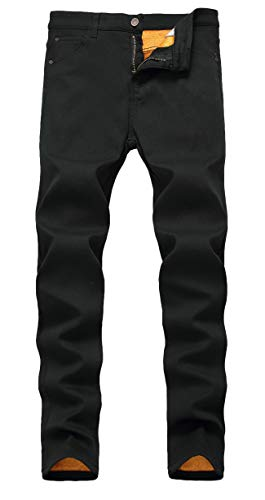 Lined Pants Trousers - COLINNA Men's Fleece Lined Jeans Winter Thicken Stretch Jeans Skinny Denim Pants Casual Trousers