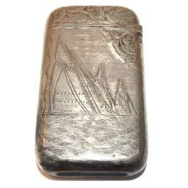 Antique Pairpoint Silver Match Safe w/ Nautical Salboat Design Vesta Case