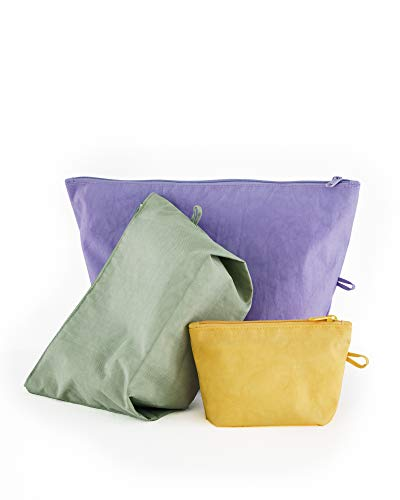 BAGGU Go Pouch Set, Expandable Nylon Zip Pouch 3 Pack For Travel and Organization, Meadow Solids