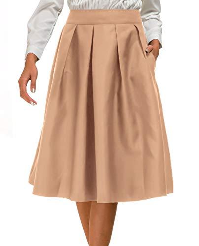 - Double Plus Open Womens Pleated High Waist Skater Skirt A Line Flared Midi Skirt with Pocket Khaki 2XL