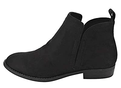 Cityclassified Women's Elastic Goring Cut Out Stacked Heel Ankle Booties
