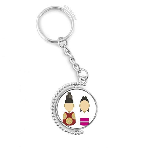 Korea traditional prince and princess Rotatable Key Chain Ring Keyholder