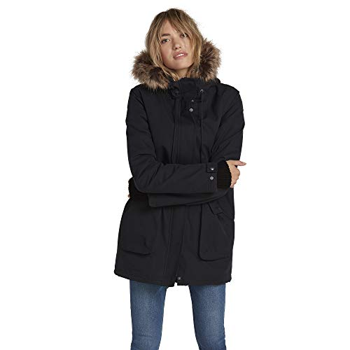 Volcom Women's Less is More Sherpa Lined Parka Jacket, Black, Extra Small