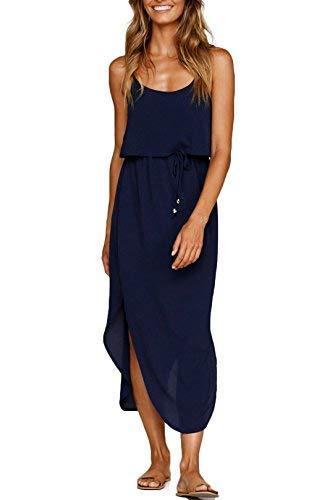 NERLEROLIAN Women's Adjustable Strappy Split Summer Beach Casual Midi Dress(zangqing,M) Navy -