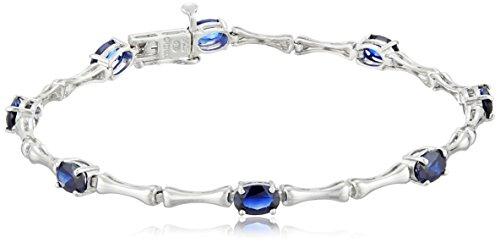 Sterling Silver Created Blue Sapphire Bracelet