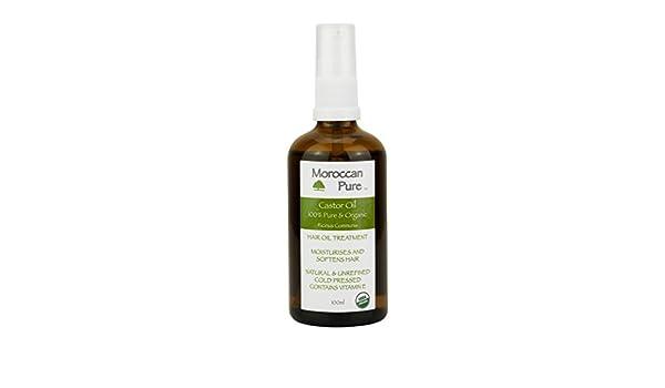 Pure marroquí Orgánico, prensado en frío, aceite de ricino virgen extra y filtrado en Marruecos 100 ML: Amazon.es: Belleza