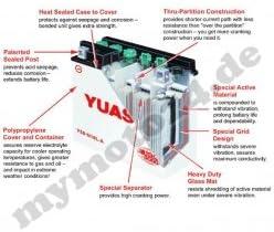 f/ür Piaggio // Vespa LX50 Batterie YUASA YB4L-B 2T Ma/ße: 121x71x93 Baujahr 2012 12V//4AH