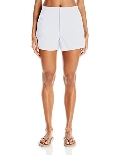 Maxine of Hollywood Women's Solid Woven Boardshort, White, 14