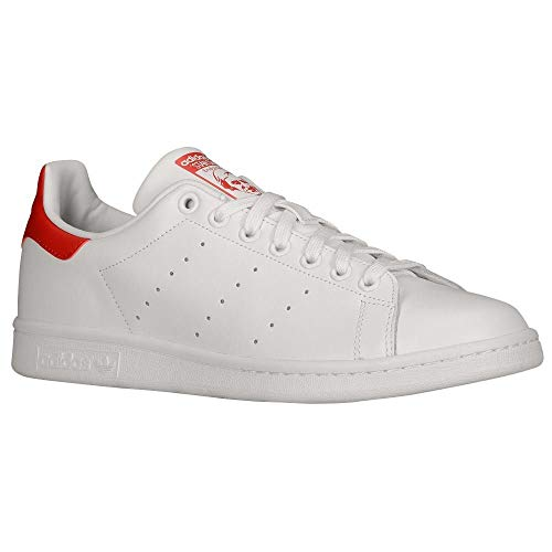 adidas Men's Originals Stan Smith Sneaker, White/White/Collegiate Red, 8.5 M US