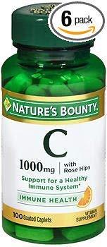 Nature's Bounty Vitamin C-1000mg plus Rose Hips - 100 Caplets, Pack of 6