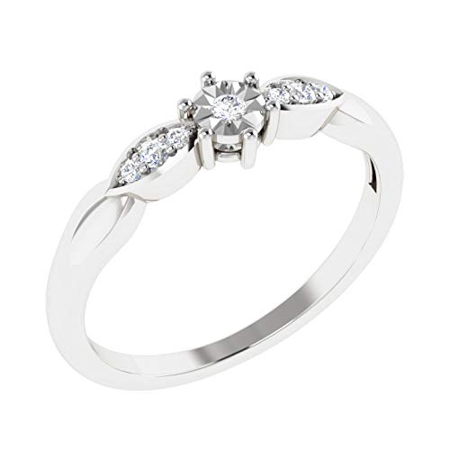 100% Pure Diamond Engagement Rings For Women Natural Diamond Rings 10K White Gold Real Diamond Rings for Women 0.05 Carat I2-I3-HI Real Diamond Rings