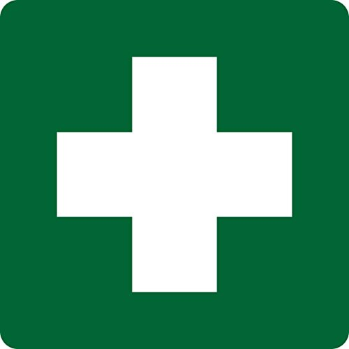 (5in x 5in Green First Aid Sticker Vinyl Signs Door Stickers Safety)