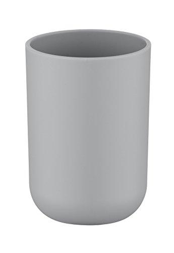 Wenko 22246100 Zahnputzbecher Brasil absolut bruchsicher, Thermoplastischer Kunststoff TPE, grau, 7,3 x 7,3 x 10,3 cm