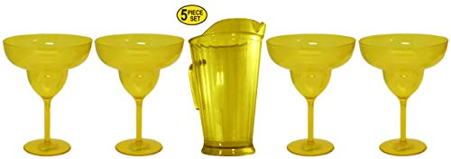 Set of 4 Large 24 oz Margarita Glasses Plus 48 oz Pub Pitcher Yellow For Cocktail Drinks Bar