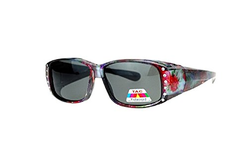 Polarized Rhinestone Fit Over Lens Cover Sunglasses - - Fit Sunglasses