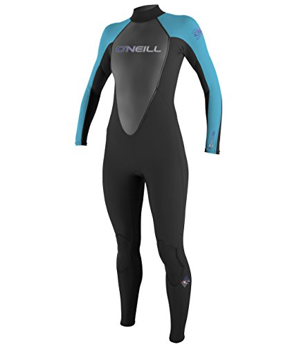 O'Neill  Women's Reactor 3/2mm Back Zip Full Wetsuit, Black/Turquoise/Black,4