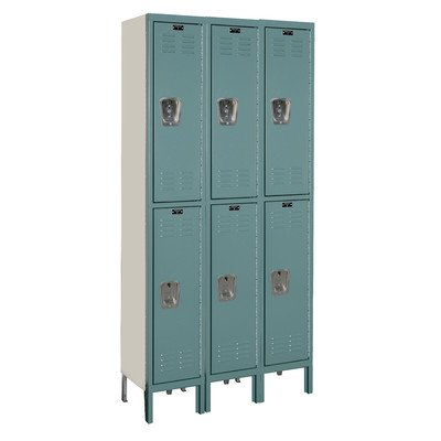Hallowell U3258-2-GM Premium Wardrobe KD Metal Locker, Unassembled, 3-Wide Grouping, 2 Tier, 36