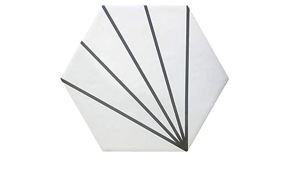 Baldosas cer/ámicas para suelos y paredes de interior 17,5x20 cm Color Negro Mate - Caja de 1 m2 Nais Colecci/ón Hexatile 35 piezas
