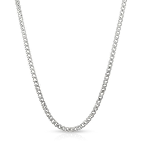 Sterling Silver Italian 2mm Miami Cuban Curb Link Thick Solid 925 Rhodium Necklace Chain 16