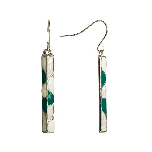(Stylish Goldtone Green White Bar Block Dangle Earrings Enamel Jewelry (White/Green))