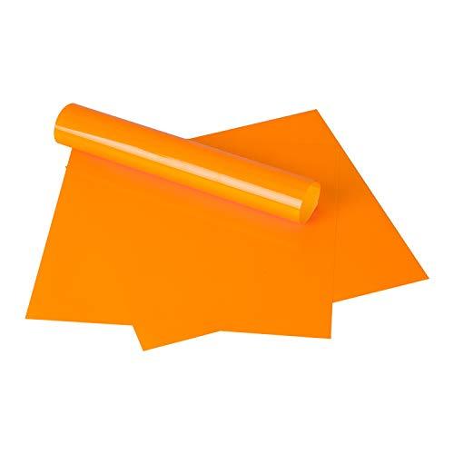 RUSPEPA Halloween Heat Transfer Vinyl - Iron On for Silhouette Cameo & Cricut - HTV for Fabrics and Hats - 12x12Inch - 3sheet - Fluorescent Orange