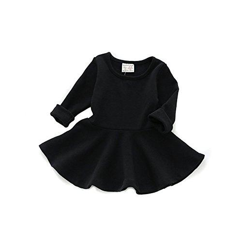 Toddler Dress Black (Baby Girls Dress, Toddler Round Neck Black Ruffle Long Sleeves Skirt,Black,98 / 24-36)