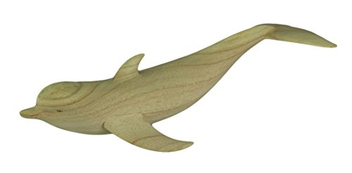 Zeckos Wood Statues Hand Carved Wooden Swimming Dolphin Statue 19 X 4 X 7.5 Inches Beige