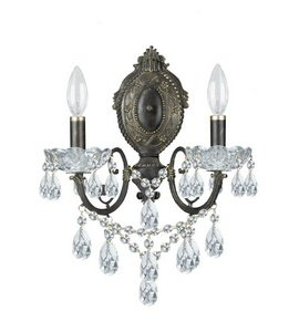 Legacy 2 Light Sconce - Crystorama 5192-EB-CL-S Crystal Accents Two Light Sconces from Legacy collection in Bronze/Darkfinish, 7.00 inches