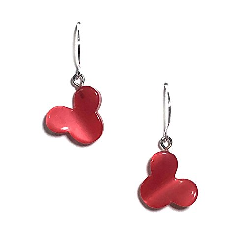 Earrings Dangle Disney (Mickey or Minnie Mouse Drop Earrings | Vintage Red Moonglow Lucite Jewelry)