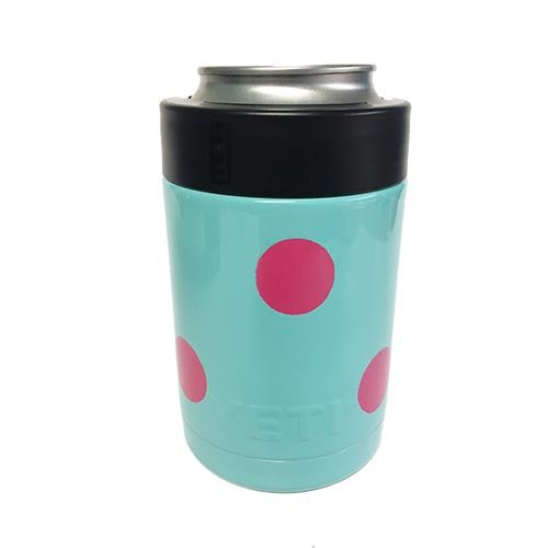 YETI Coolers Custom Rambler Colster Stainless Steel Insulated Beverage Holder Tumbler Cup Mug - Keep your 12 Ounce (12 oz) (12oz) beer or soda, can or bottle, cold for hours (Seafoam Pink Polka Dot)