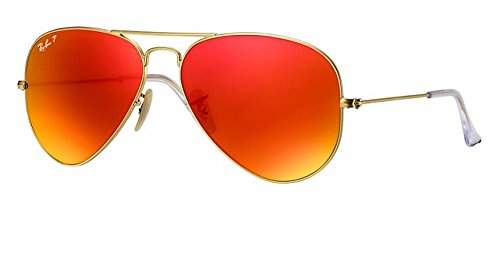Ray Ban RB3025 112/4D 58M Matte Gold/ Polarized Brown Red Mirror - Red Ray Ban Sunglasses