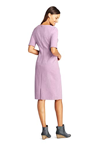 (Lands' End Women's Petite Ponte Knit Sheath Dress with Elbow Sleeves, 6, Mauve Orchid Heather)