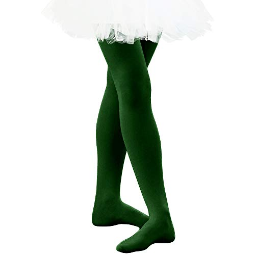 Ballet Dance Tights Ultra Soft Transition Girls Student Footed Tight(Toddler/Little Kid/Big Kid) (XXL, Dark Green)
