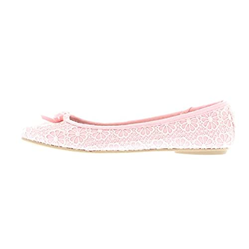2e8316240afb Gold Toe Women s Lauren Floral Lace Knit Ballet Flats with Arch Support and  Accent Bow good