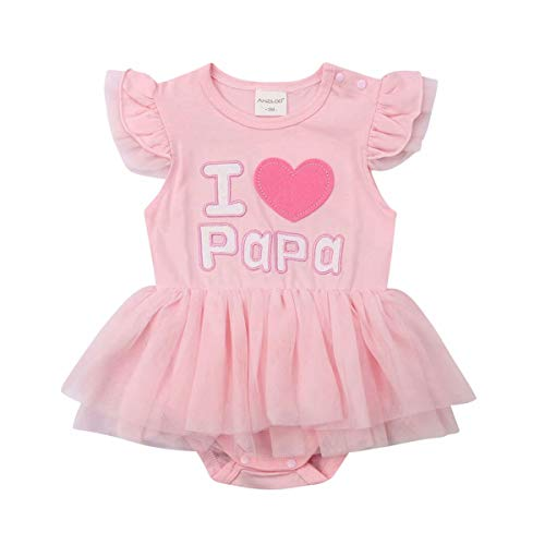 Newborn Infant Baby Girls Summer Short Sleeve Romper Mother's Day Father's Day Clothes I Love Mama/Papa Letter Tutu Bodysuit