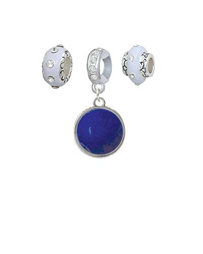 Silvertone Round - Dolomite Marble - Blue - White Charm Beads (Set of 3) - Dolomite White Marble