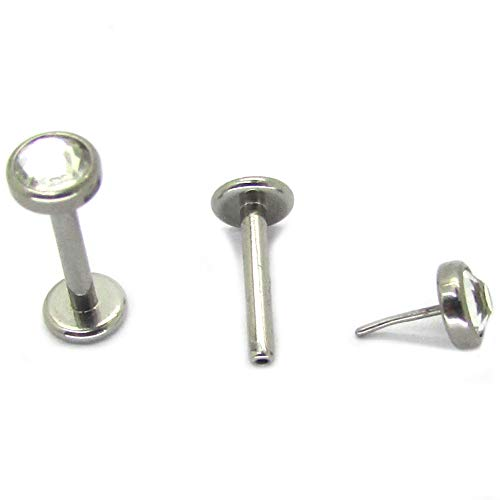 NewkeepsR G23 Titanium Press Fit Threadless Push-in 4.0mm Jeweled Top Labret Lip Monroe Stud Tragus