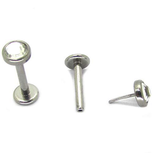 NewkeepsR G23 Titanium Press Fit Threadless Push-in 4.0mm Jeweled Top Labret Lip Monroe Stud Tragus ()