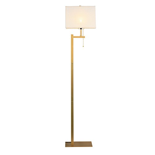 Modern Floor Lamp, WAYKING Standing Lamp with Gold Metal Base, Beige Shade, Pull-Chain On/Off Switch-Gold
