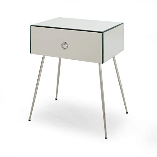 Great Deal Furniture 308287 Georgia Modern Mirrored Accent Table, Silver