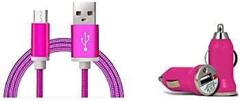 Cell-Stuff Hot Pink Braided Auto Car Charger Including Micro 3 FT Charging Cable and Cigarette Lighter Adapter Compatible w/Samsung Galaxy Halo and Similar USB Compatible Cell Phones