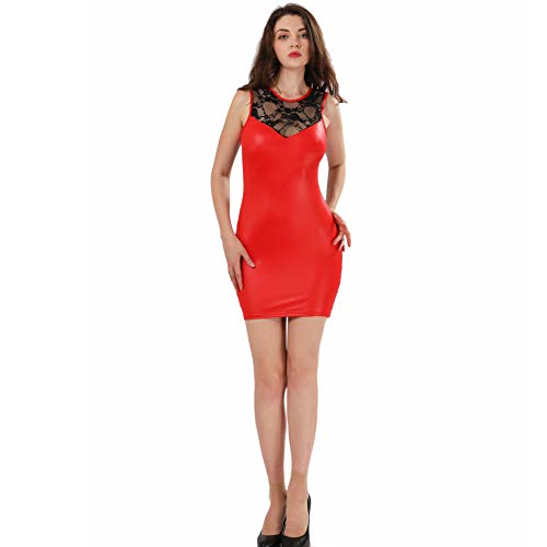 ThreeH Clubwear de Las Mujeres Ropa Interior Atractiva Ropa Interior del Cuero Jumpsuit C4123Red