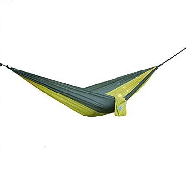 OuterEQ Portable Nylon Fabric Travel Camping Hammock Grey/yellow