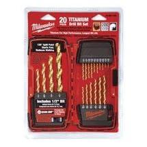 Milwaukee 48-89-1105 1/16-to-1/2-Inch Titanium-Coated 20-Piece Twist Drill Bit Assortment