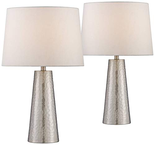 Modern Table Lamps Set of 2 Silver Leaf Hammered Metal Cylinder Off White Drum Fabric Shade for Living Room Bedroom - 360 Lighting