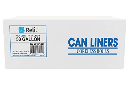 (Reli. Trash Bags, 50 Gallon (200 Count) (Clear) - Star Seal High Density - Easy Grab Rolls - Can Liners, Garbage Bags with 45 Gallon (45 Gal) - 50 Gallon)