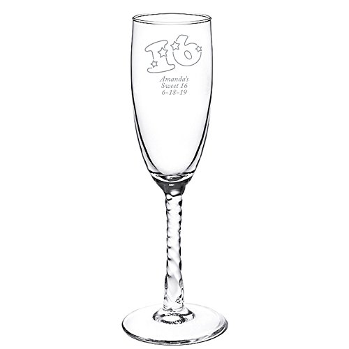 Personalized Color Printed Twisted Stem Champagne Flute - Sweet 16 Star - Silver - 48 pack (Stem Twisted Flute)