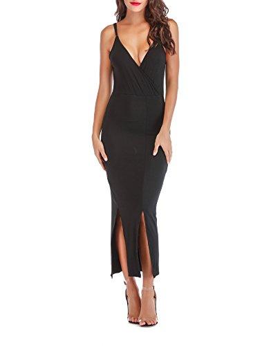 - SUNNOW Women Sexy Wrap V Neck Black Spaghetti Straps Double Split Maxi Long Evening Party Beach Dress (US8-10=M, Black)
