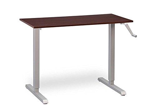 "MultiTable Height Adjustable Crank Standing Desk with Silver Frame + Small Desktop 24"" x 40"" x 3/4"", Espresso"